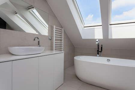 都市アパートの屋根裏部屋に明るいバスルーム インテリア