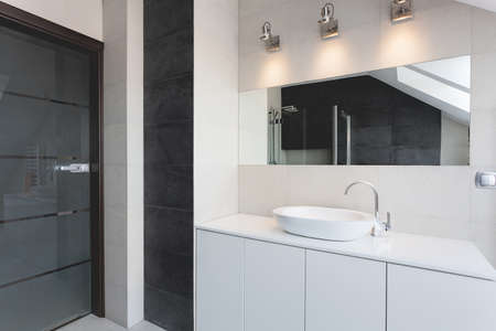 bathroom interior: Urban apartment - bath counter, sink and mirror