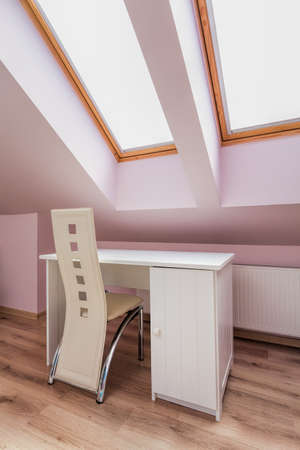 Urban apartment - white furniture in the attic room photo