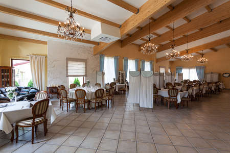 mediterranean interior: Mediterranean interior - an elegant restaurant with wooden details