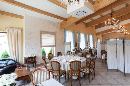 Mediterranean interior - a brown classy interior in a restaurant photo