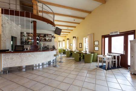 mediterranean interior: Mediterranean interior - an elegant cafe with a bar