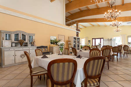 Mediterranean interior - a beige dining space in a restaurant Stock Photo - 21822473