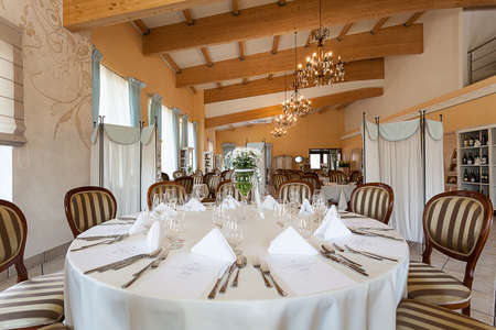Mediterranean interior - a white set reception table Stock Photo - 21822476