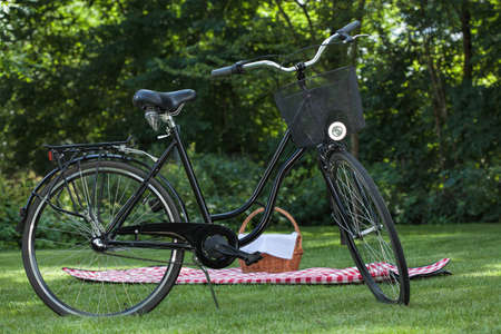 Biking and picnic in the park - summer relaxation photo