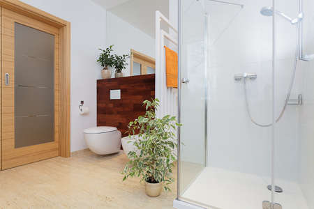 Bright big bathroom with beautiful green plants photo