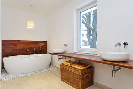 Bright bathroom with big window Stock Photo - 21921143