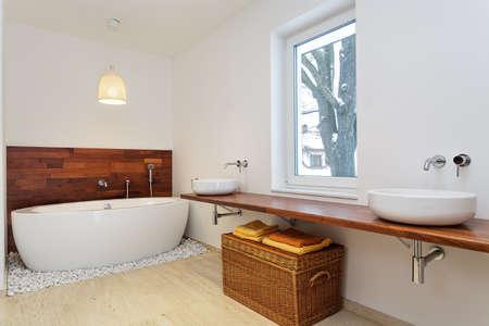 Bright bathroom with big window Stock Photo - 21921143