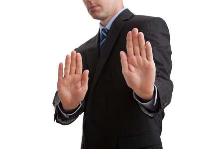 'body language': Business body language- man showing stop sign