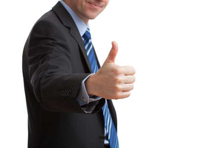 Businessman on white isolated background showing ok gesture