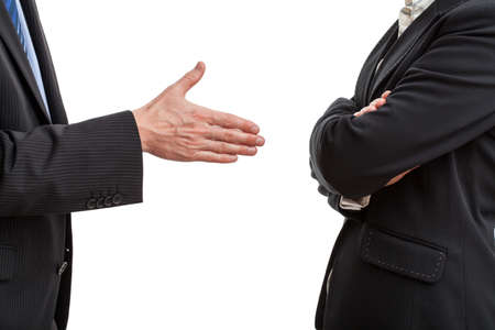body language: Try of handshaking between two work partners