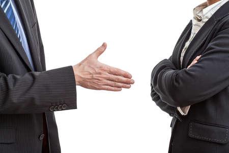 corporal language: Propuesta Apret�n de manos en caso de disputa entre dos gestores de Foto de archivo