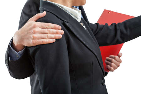 apologise: Cooperation in work, boss and employee on isolated background