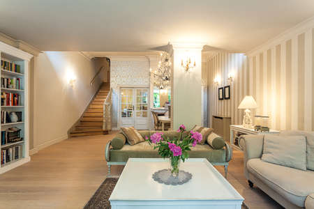 Vintage mansion - a spacious classy living room in beige Stock Photo - 22059017