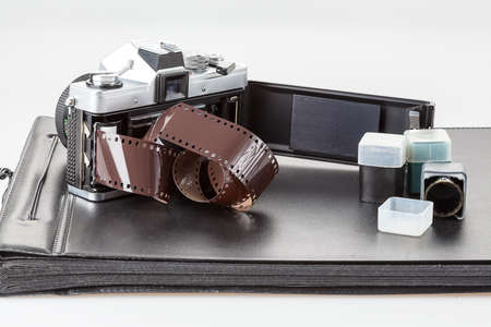 A roll of film in a retro analogue camera photo