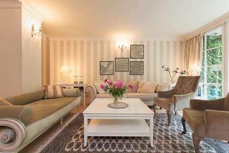 Vintage herenhuis - een retro design in een elegante woonkamer
