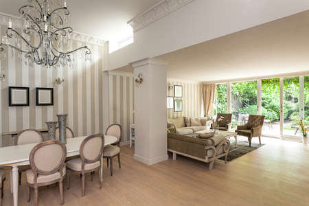 Vintage mansion - an elegant beige interior with a living and a dining room Stock Photo - 22183452