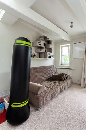 Vintage mansion - a black massive punch bag in a beige room photo