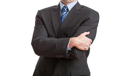 lenguaje corporal: El hombre en el fondo aislado con la postura cerrada Foto de archivo