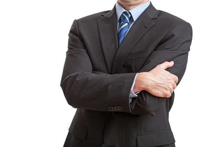 body language: Man on isolated background with closed posture