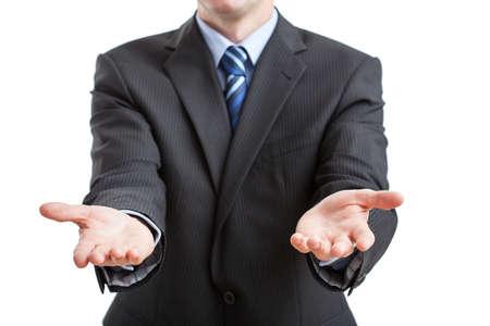 lenguaje corporal: Manos de par en par en el gesto de invitar a la cooperación