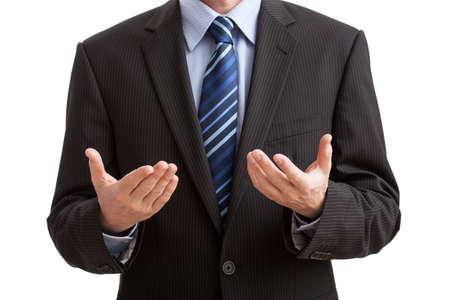 Lichaamstaal gebaar van uitleg van het probleem