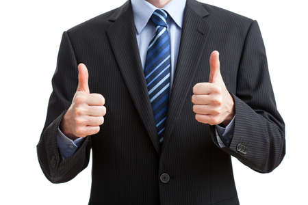 Man in suit showing OK gesture on isolated background