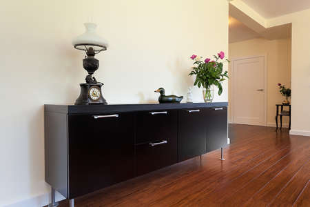 Bright space - an elegant black cabinet with drawers photo