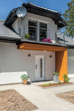 Bright space - a front of a modern house photo