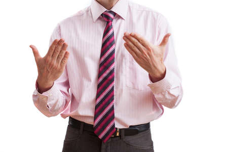 convince: Businessman convincing listeners to his strategy, isolated background Stock Photo