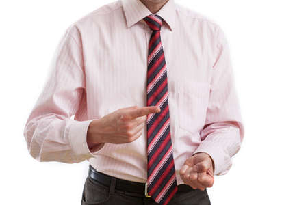 violence in the workplace: Boss with gesture of threatening with one finger in front
