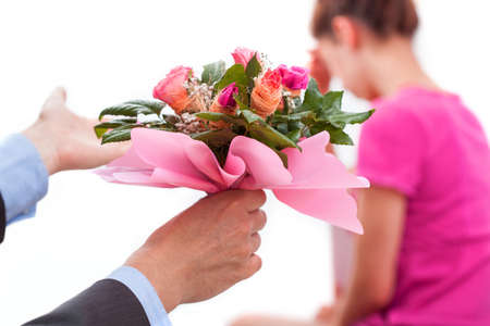 apologise: A woman with broken heart and man with flowers wanted forgiveness