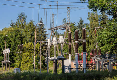 electrify: An eectric power substation with conductors and insulators
