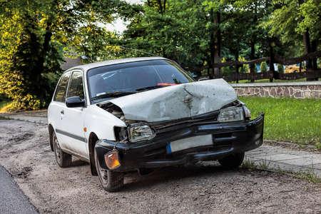 fender bender: An old crashed car after a traffic accident