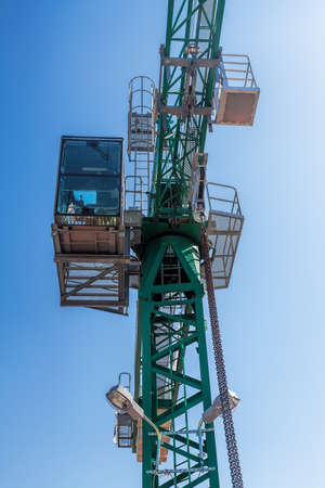 Closeup of a crane and operator cabine Stock Photo - 22301886