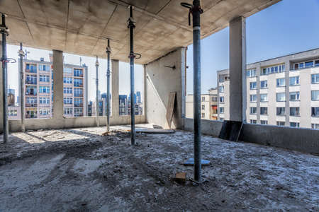 structural: Inside of a structure full of rubble Stock Photo