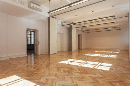 home gym: Spacious bright ballroom with a wooden floor