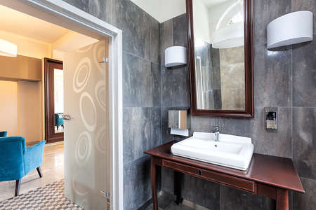 Countertop and sink in classic bathroom Stock Photo - 22306083