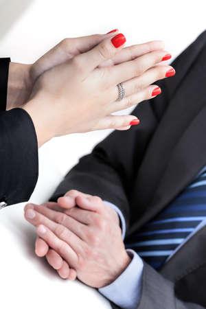 Partner business explanation - reprimanding uptight employee photo