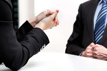Woman hands and a business meeting, isolated Stock Photo - 22402319
