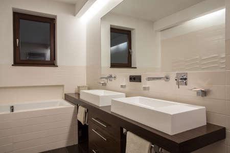 Travertine house - Stylish bathroom in cream color Stock Photo - 22418227
