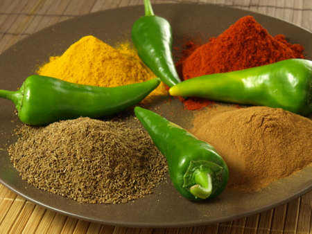 Ingredients used in indian cuisine- spices and vegetables photo