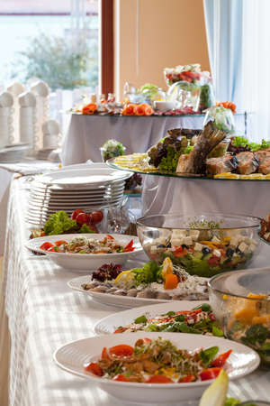 lunch buffet: Elaborated table with appetizers ready for reception