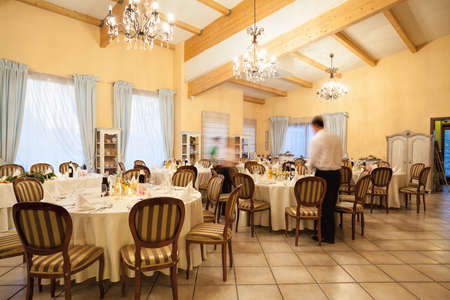Interior of restaurant before a wedding reception Stock Photo - 22472995