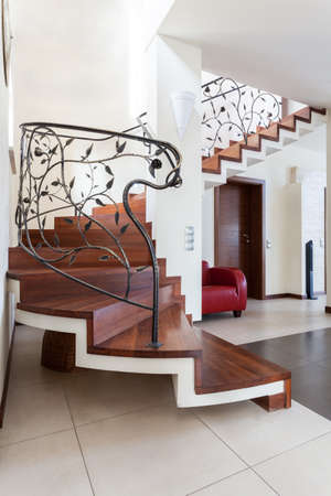 Classy house - Wooden stairs with original banister Stock Photo - 22473326