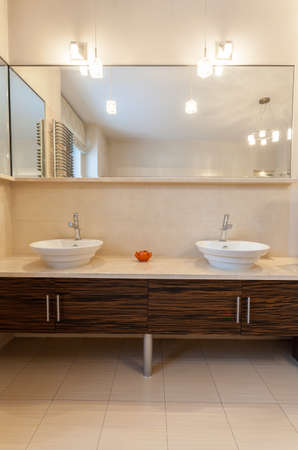classy house: Classy house - two sinks in contemporary bathroom Stock Photo