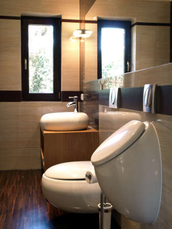 Inside of stylish bathroom: sink, toilet and urinal photo
