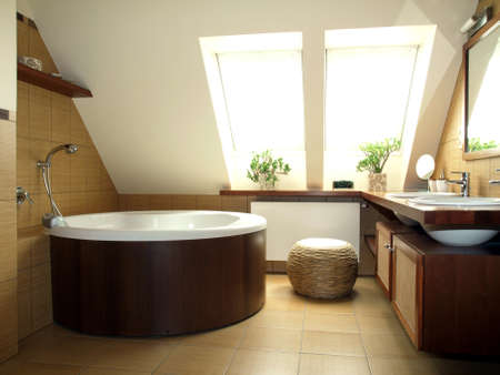 Cosy brown and white bathroom in the loft Stock Photo - 22460897