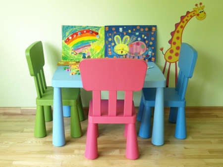 Colorful and cosy children's room with toys photo