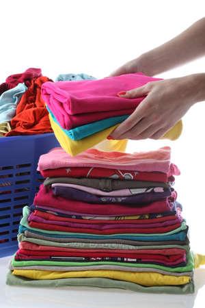 ironed: Female folding children